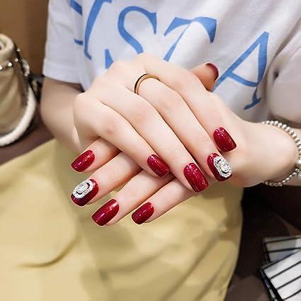 Jovono 24 uñas postizas de colores sólidos, color rojo, con cabeza ...