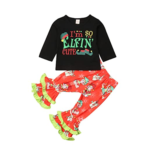 19a668e19 Amazon.com: Baby Kid Girls Christmas Outfit Black Long Sleeve Top T-Shirt +  Elfin Ruffled Pants Xmas Clothing Set: Clothing
