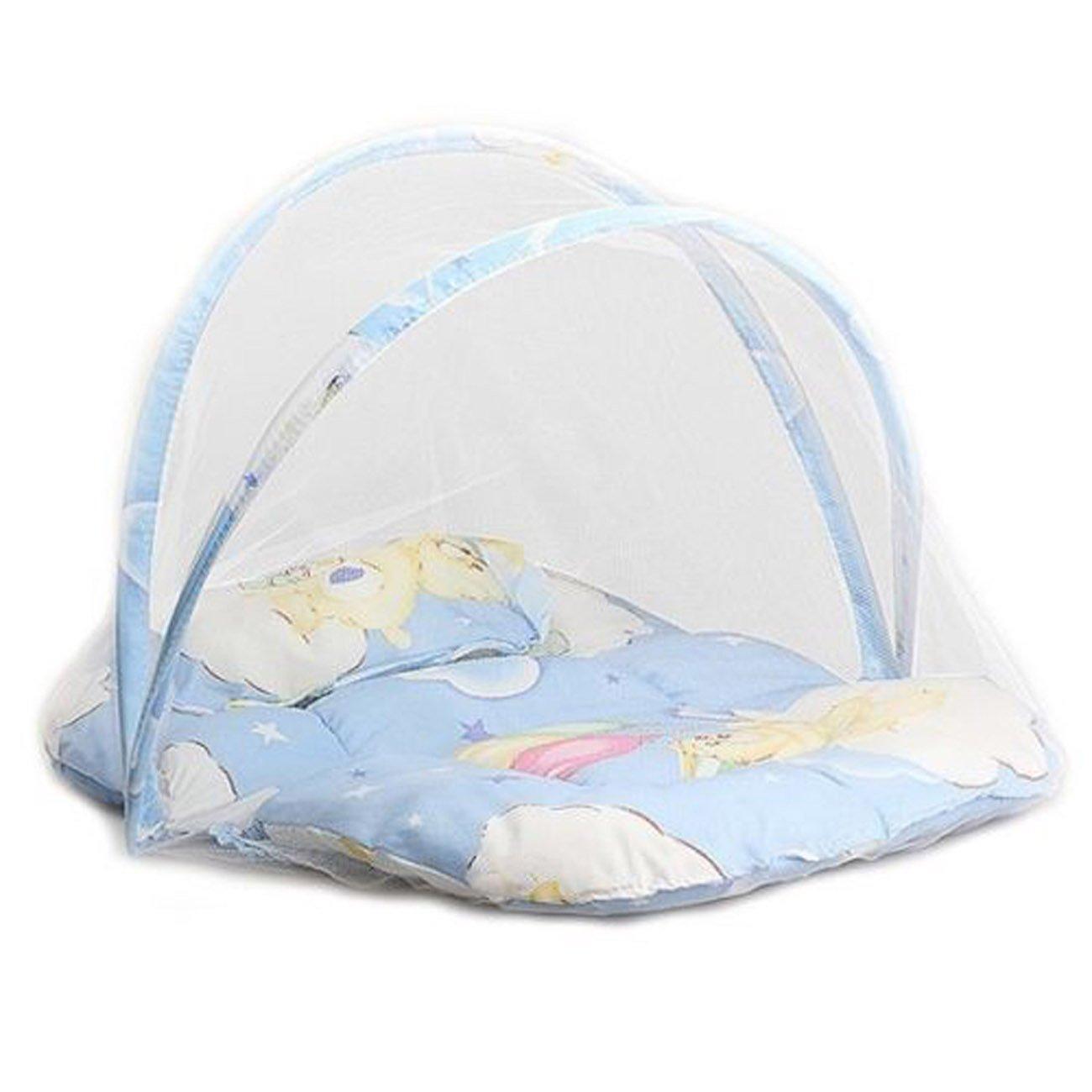 Bebé niño cama cuna dosel mosquitera tienda de campaña para viaje plegable portátil con almohada rosa rosa CHRONSTYLE