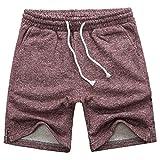 Manwan walk Men's Casual Classic Fit Cotton Elastic Jogger Gym Drawstring Knit Shorts (Medium, Red)