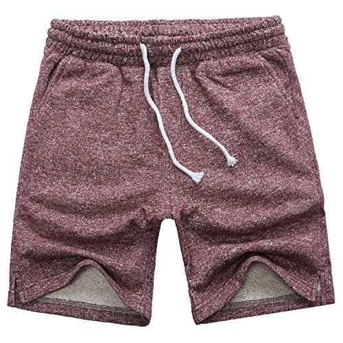 Manwan walk Men's Casual Classic Fit Cotton Elastic Jogger Gym Drawstring Knit Shorts (Medium, Red) by Manwan walk (Image #7)