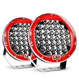Led Light Bar Nilight 2PCS 9''185w 17000LM Red Round Spot Light Pod Off Road Fog Driving Roof Bar Bumper for Jeep,SUV Truck , Hunters, 2 years Warranty