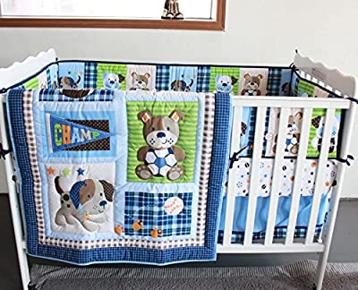 NAUGHTYBOSS Baby Bedding Set Cotton 3D Embroidery Lovely Dog And Bear Quilt Bumper Mattress Cover 7 Pieces Blue