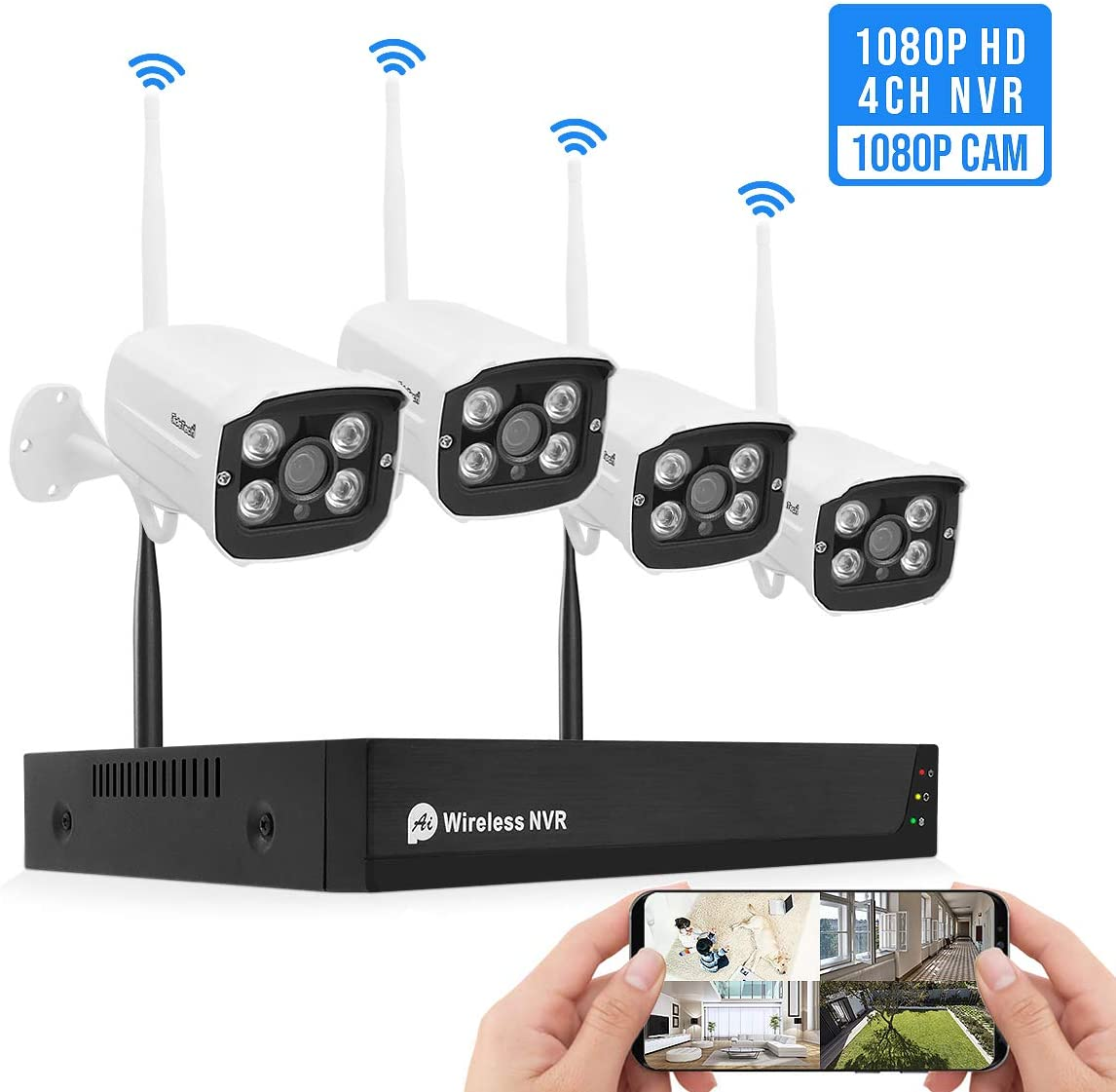 1080P Wireless Security Camera System Outdoor Indoor Plug Play 4-Channel NVR 4Pcs 2MP WiFi Video Surveillance Cameras H.265 with Night Vision, Motion Detection, P2P, 24 7 Recording, No Hard Drive