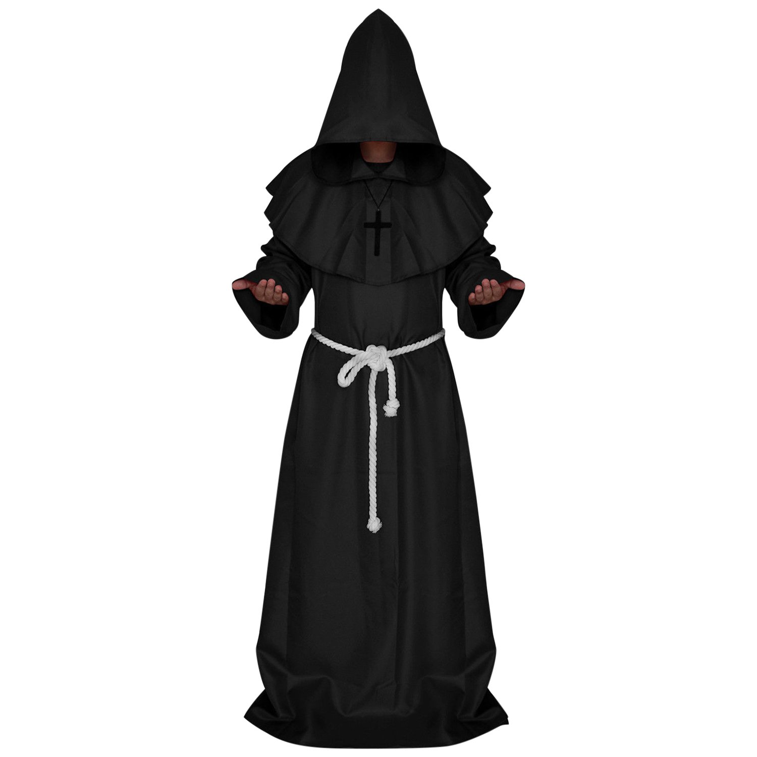 CHNS Halloween Cosplay Medieval Friar Monk Robe Priest Robe Costume Cloak