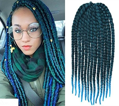 Off Black To Aqua Two Colors Ombre Crochet Braid Hair Extensions