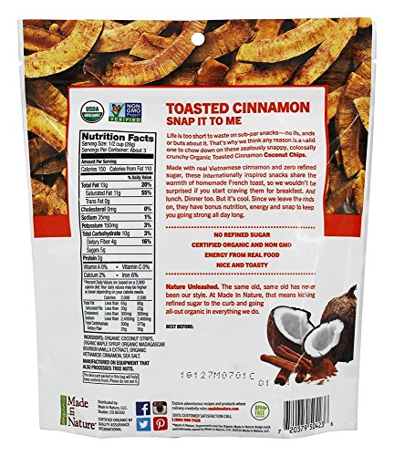 Made in Nature Organic Toasted Coconut Chips Vietnamese Cinnamon Swirl-3 oz Bag Photo #3