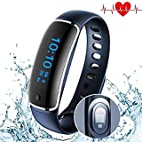 Smart Band - Heart Rate Blood Pressure Sleep Monitor - Waterproof Pedometer Smart Watches,Fitness Tracker Bracelet GPS Watch - For Android iphones Bluetooth Health Wristband By Shining Ever (blue)