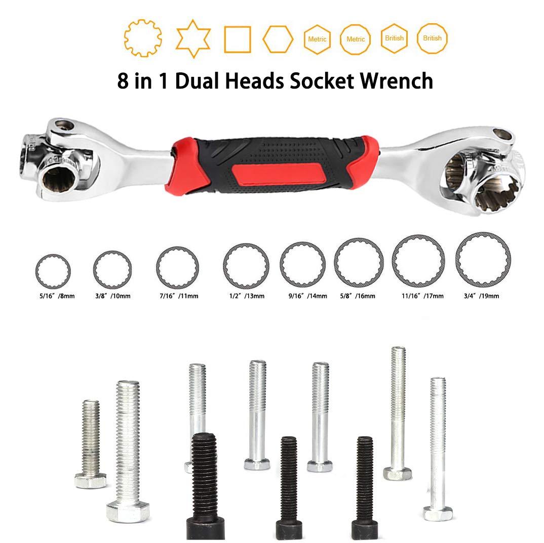 8 in 1 Multifunktions-Ratschenschl/üssel-Werkzeugsatz mit 360-Grad-Geh/äusebuchse Geh/äuseschl/üssel