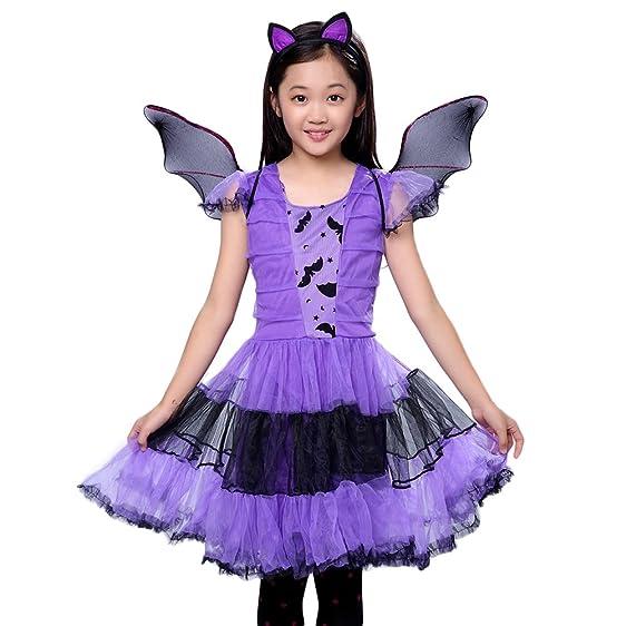Per Hallowmas Fairytale Girls Costume Masquerade Performance Purple Bats Costume Dress with Wings for Pupils Children  sc 1 st  Amazon.com & Amazon.com: Per Hallowmas Fairytale Girls Costume Masquerade ...