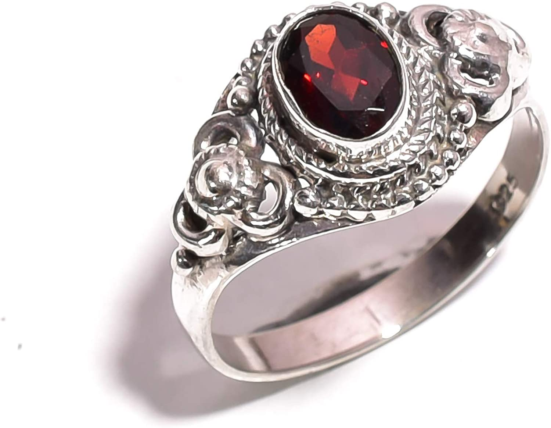 mughal gems & jewellery Anillo de Plata esterlina 925 Anillo de joyería Fina de Piedras Preciosas de Granate Rojo Natural para Mujeres y niñas Tamaño 7.75 U.S (ZR-783