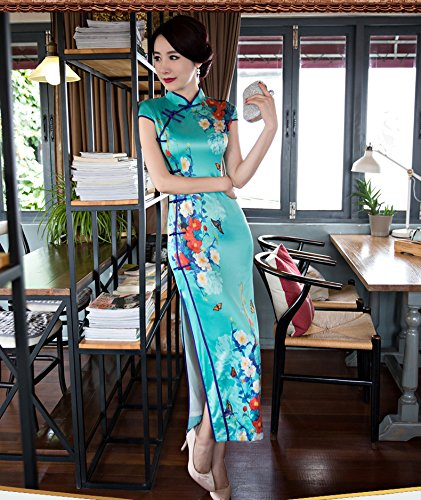 Luck Femme Longue Robe Chinois/Asiatique Robe Manche Courte Classique Motif Fleur en Polyester Azure