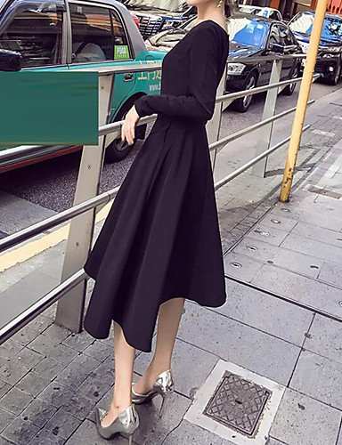 Negro De Mujer Micro Elástico Fiesta Vestido De Larga Vestido Fino Manga JIALE3536 6UxwnP5q