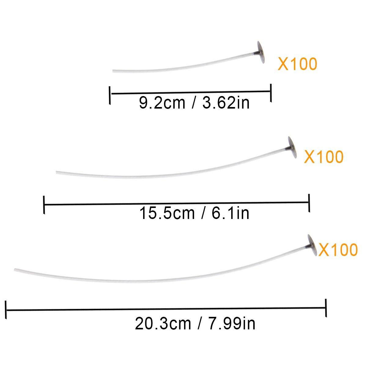 90 mm, 150 mm y 200 mm Madholly 150 Velas vela DIY /… mecha de vela en 3 tama/ños diferentes para la fabricaci/ón de velas