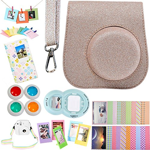 SAIKA Camera Accessories Bundle [Protective Case+Hanging&Table Frame+Filter& Selfie Lens+Album+Film Stickers+Rainbow Strap] Fujifilm Instax Mini 9 8 8+ Instant Camera- Glitter Brown