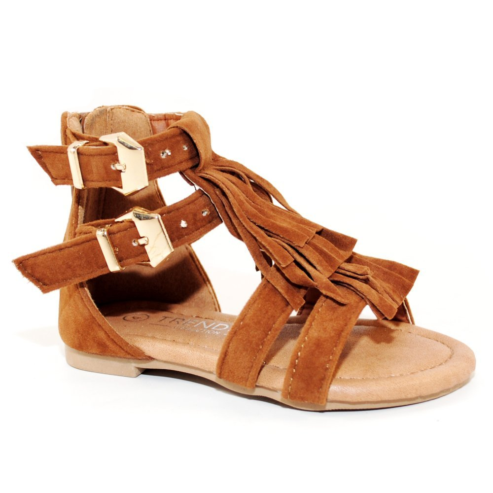 TRENDSup Collection Baby Toddler Girls and Little Girls Strappy Buckled Fringe Gladiator Flat Sandals