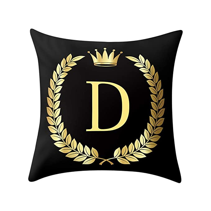 Amazon.com: Funda de almohada negra con diseño de alfabeto ...