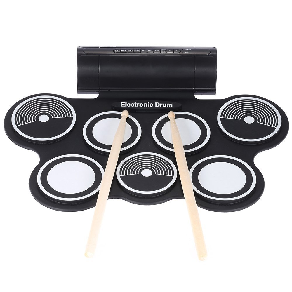 ammoon Silicone Electronic Drum Pad Kit Digital USB Roll-up with Drumstick Foot Pedal 3.5mm Audio Cable
