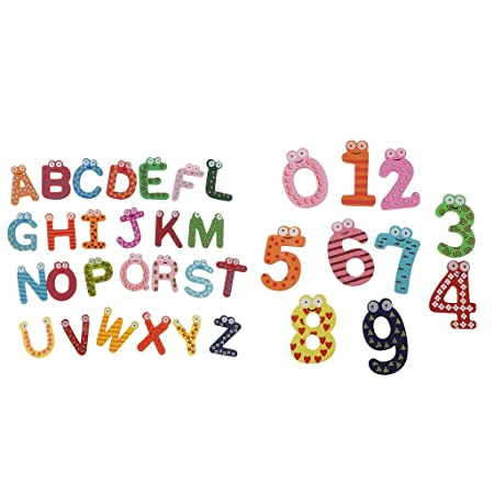 Injoyo 2set Letras Magnéticas De Madera Y Números Alfabeto Imanes ...