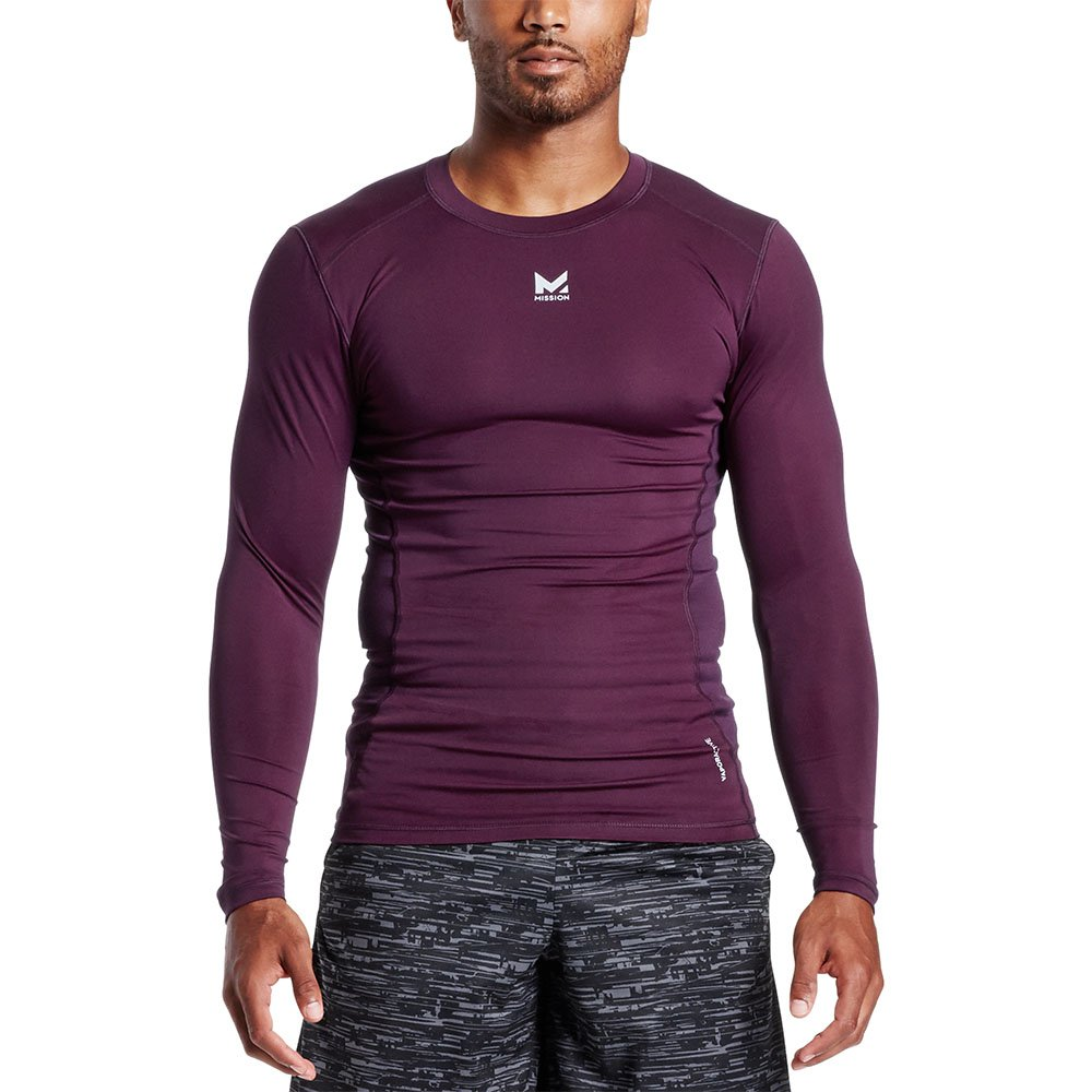 Mission Men's VaporActive Voltage Long Sleeve Compression Shirt, Potent Purple, Medium
