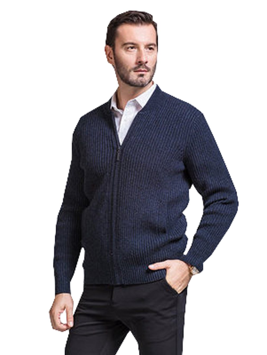 UNbox Mens Cashmere Solid Zip Knitted Cardigan Sweater Black Grey S by UNbox (Image #1)