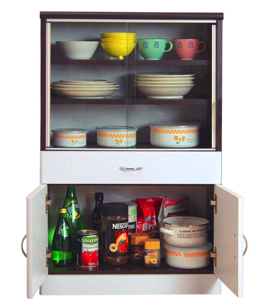 サンニード 食器棚 IS-601 ダークブラウン ホワイト 幅60cm 奥行31cm 高さ90cm 木製 B00JGOWGZ8 ホワイト/ダークブラウン ホワイト/ダークブラウン