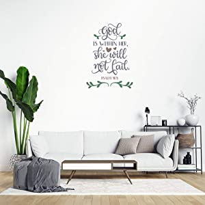Bible Quote Farmhouse Wall Decals God is Within Her She Will Not Fail Rustic Peel and Stick Wall Stickers for Bedroom Living Room Office Decal Wall Art Home Decor