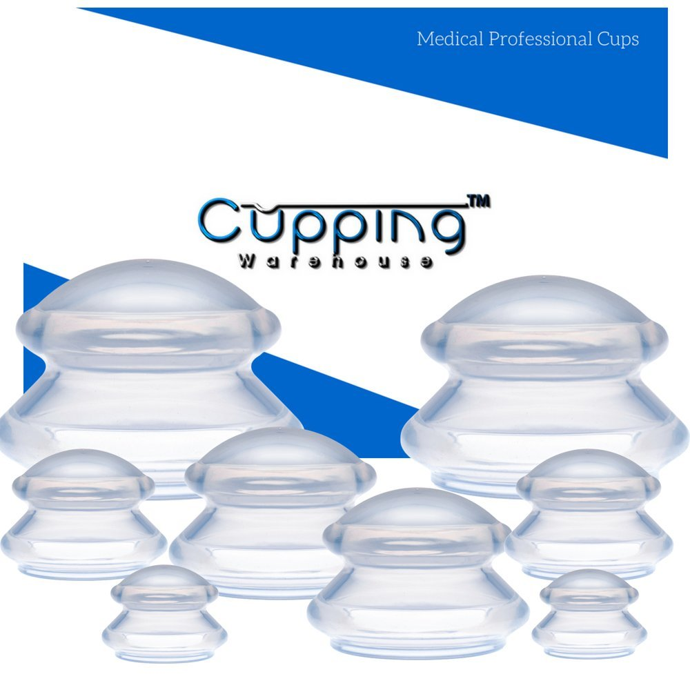 Cupping Warehouse TM Supreme DEEP PRO 6065 8 Cups (4 Sizes) Professional and Home Use: Clear Chinese Silicone Massage Cupping Therapy Sets Vacuum Suction Cups by Cupping Warehouse TM