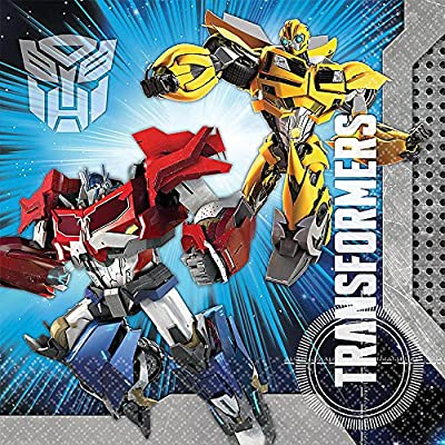 Mighty Transformers Birthday Party Luncheon Napkins , Pack Of 16, Blue , 6 1/2