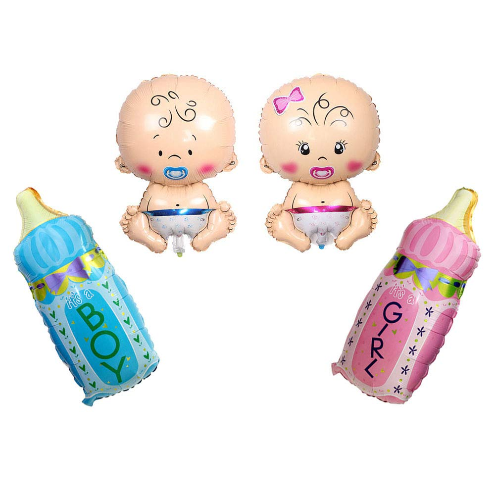 """Huture 4PCS Welcome Baby Jumbo Mylar Foil Balloon Boy Girl Shape 27""""x17"""" Blue Pink Feeding Bottle 32""""x17"""" Latex Helium Great for Baby Shower Pregnancy Gender Reveal Wedding Birthday Party Décor"""