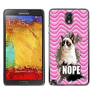- Chevron Grumpy Cat - - Monedero pared Design Premium cuero del tir¨®n magn¨¦tico delgado del caso de la cubierta pata de ca FOR Samsung Galaxy Note 3 N9000 N9008V N9009 Funny House