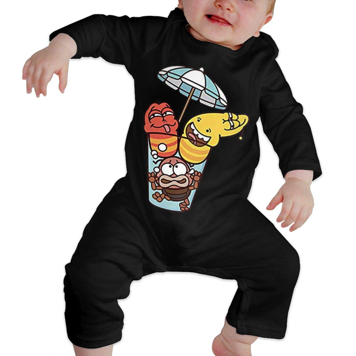 SININIDR Newborn Jumpsuit Infant Baby Girls Drinking Larva Long-Sleeve Bodysuit Playsuit Outfits Clothes Black