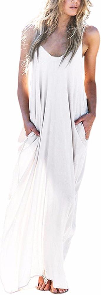 Landove Vestidos Largos de Verano Hippies Casual Ropa de Playa Mujer Tallas Grandes Algodón Vestido Bohemio Cuello V sin Mangas pour Cóctel Fiesta Boda: Amazon.es: Ropa y accesorios