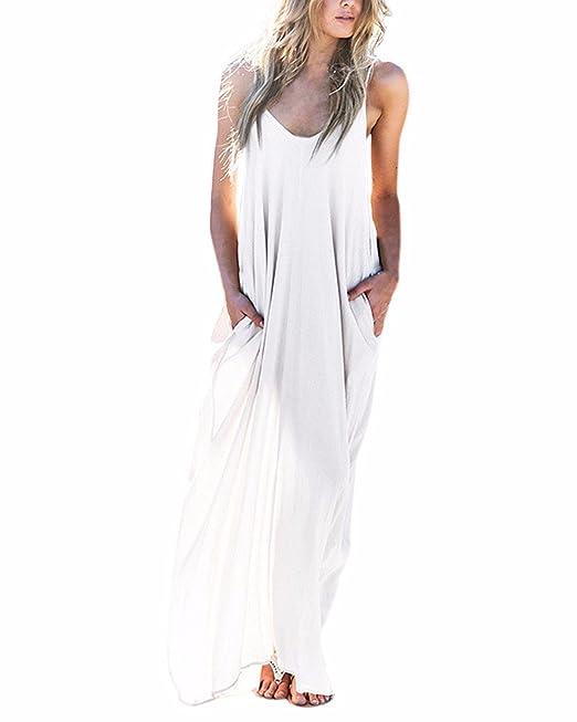 Landove Vestidos Largos de Verano Hippies Casual Ropa de Playa Mujer Tallas Grandes Algodón Vestido Bohemio