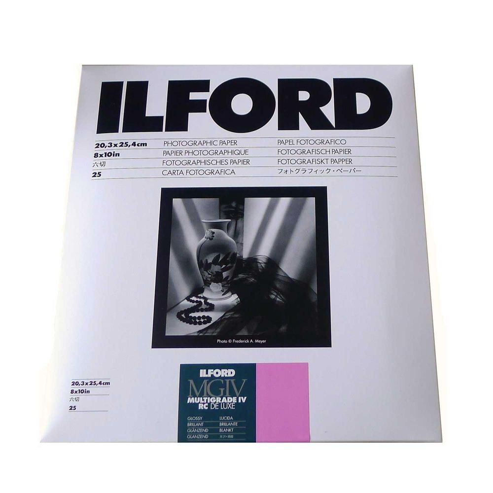 Ilford Multigrade IV RC Deluxe Resin Coated VC Variable Contrast Black & White Enlarging Paper - 8x10'' - 25 Sheets - Glossy Surface