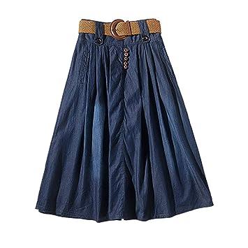Airmood De Gran tamaño una línea Falda Casual Denim Faldas largas ...