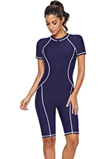f4aa867ee1 ROSKIKI Womens One Piece Zip Front Surfing Swimsuit Boyshorts Short Sleeve  Athletic Swimwear Bathing Suit