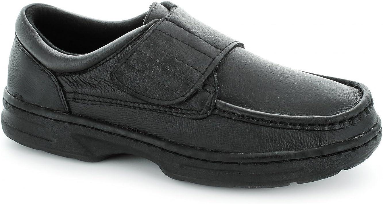 Zapatos Dr Keller de hombre con tira de velcro, color negro.