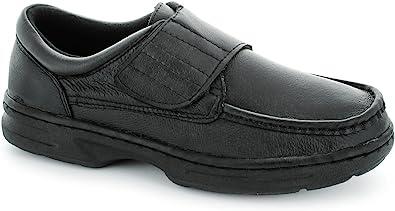 TALLA 40 EU. Zapatos Dr Keller de hombre con tira de velcro, color negro.