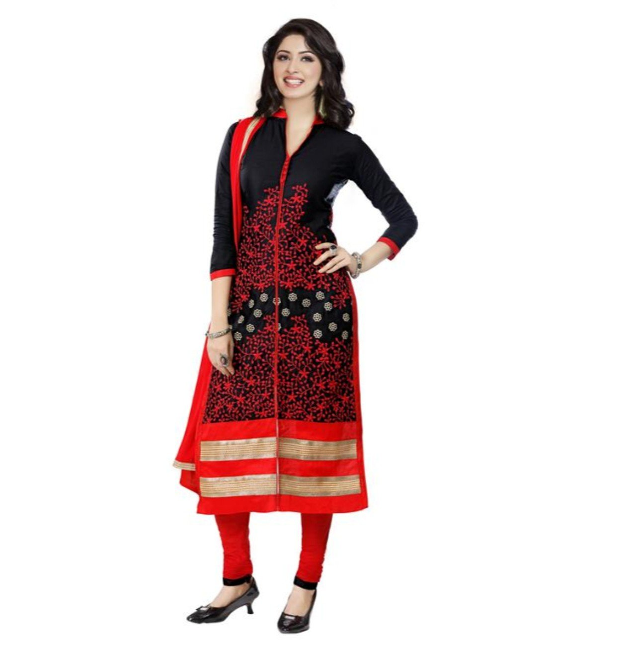 CRAZYBACHAT Indian Ethnic Pure Glass Cotton Designer Black Salwar Suit Dress Materials
