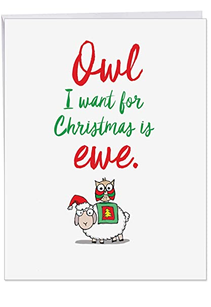 Huge Christmas Card.Extra Large 8 5 X 11 It Was The Pun Before Christmas Sheep Season S Greetings Card With Envelope Owl I Want For Christmas Is Ewe Animal