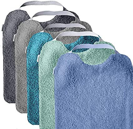 Mimuselina Pack 5 Baberos | Pack Aqua Ideal para Guardería, Interior Impermeable, Goma en Cuello para Fomentar Autonomía e Independencia, de Rizo, 31 x 25 cm