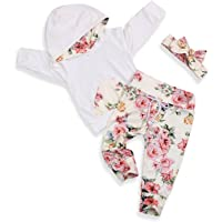 Infant Baby Girl Outfit Floral Hoodie with Pocket Flower Long Pants Set + Headband 3Pcs Tracksuit