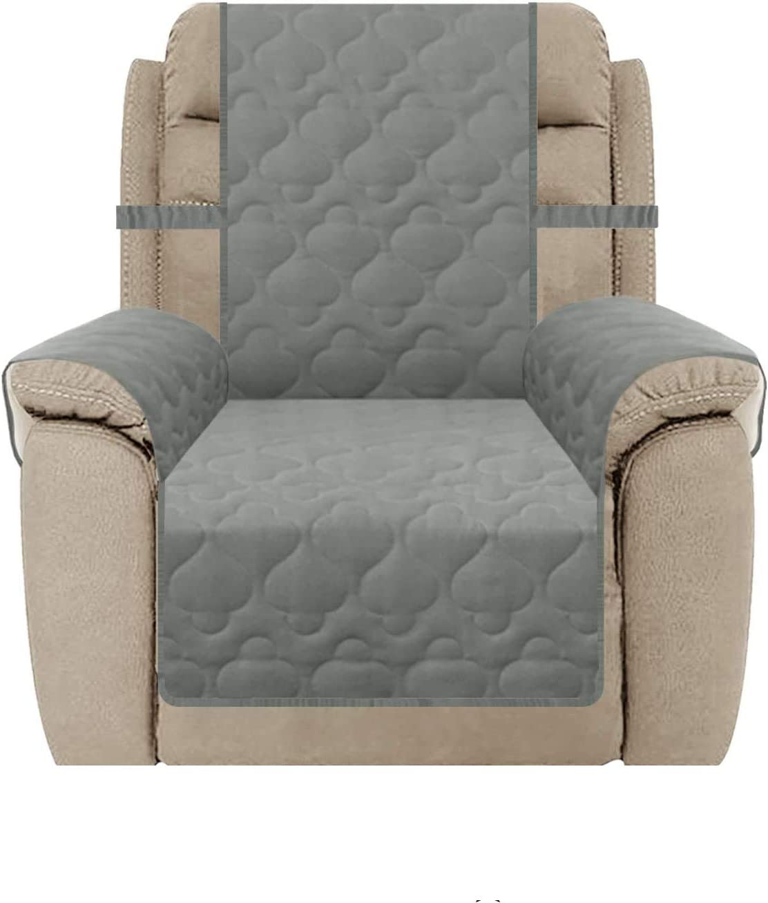 SUNNYTEX Waterproof Oversized Recliner Slipcover, Large Reclner Chair Cover Non-Slip Couch Cover Furniture Protector for Pets Children&Dog (Recliner(Oversized),Grey)
