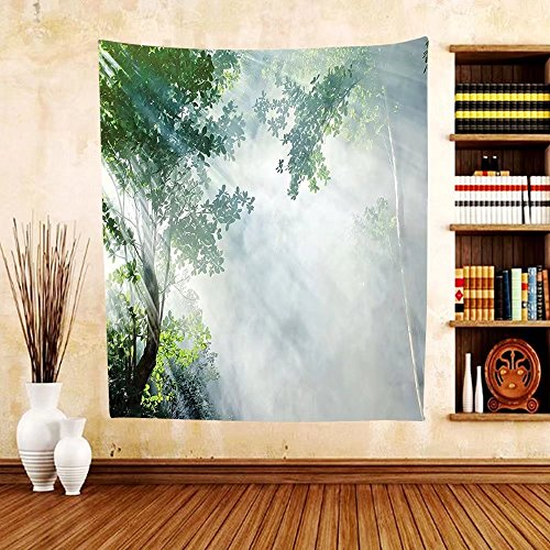 Gzhihine Custom tapestry Rainforest Decorations Tapestry San Rafael Falls Ecuador Misty Natural Waterfall In Lush Jungle Landmark Scene Bedroom Living Room Dorm Decor 60 x 80 Green - Outlet San Rafael