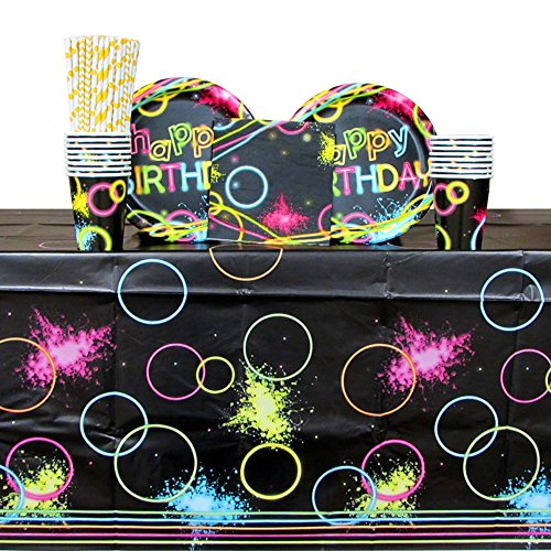 Glow Party Supply Pack for 16 Guests: Straws,