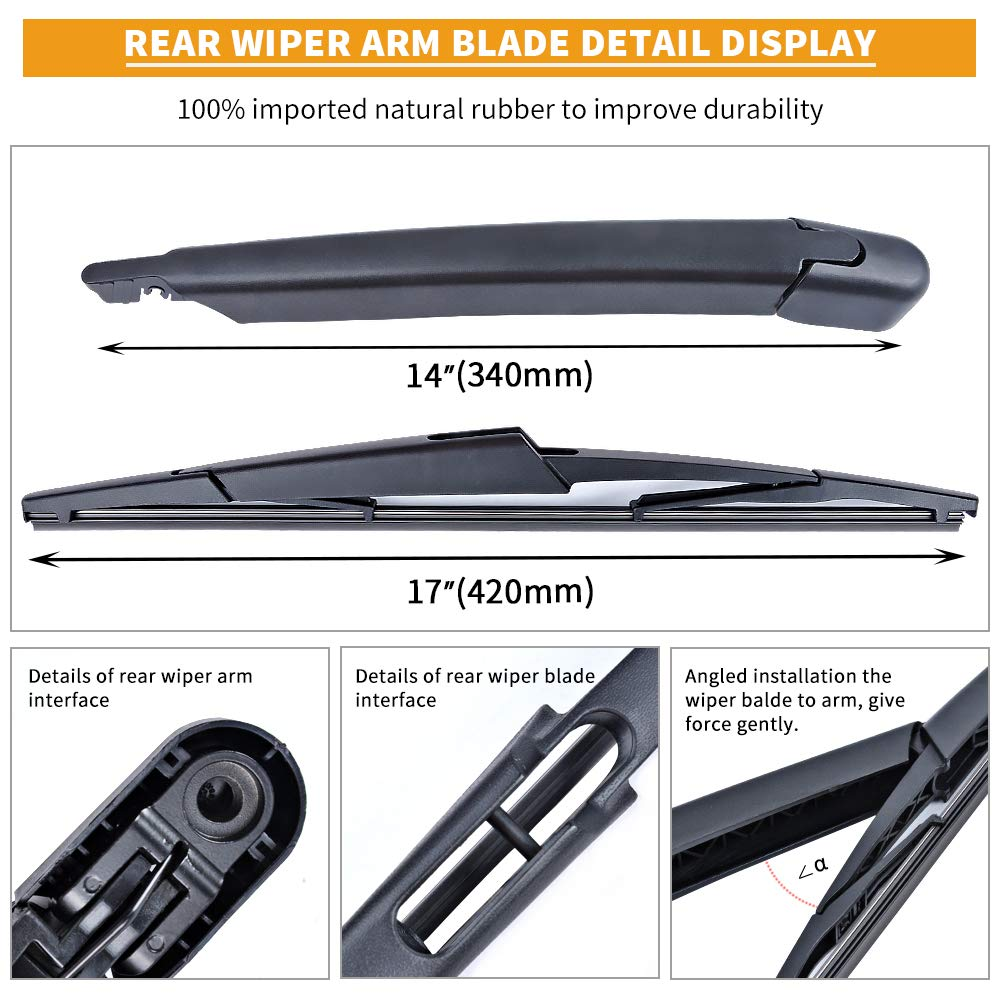 Lincoln Navigator Rear Wiper Arm Blade MIKKUPPA Back Windshield Wiper Assembly Replacement for 2009-2016 Ford Expedition All Season Natural Rubber Cleaning Window