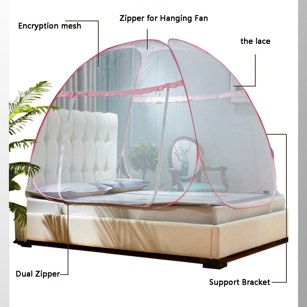 Folding Mosquito Nets Pop Up Tent Curtains Free Installation Bed Canopy Insect Net Protection For Indoor and Outdoor Use