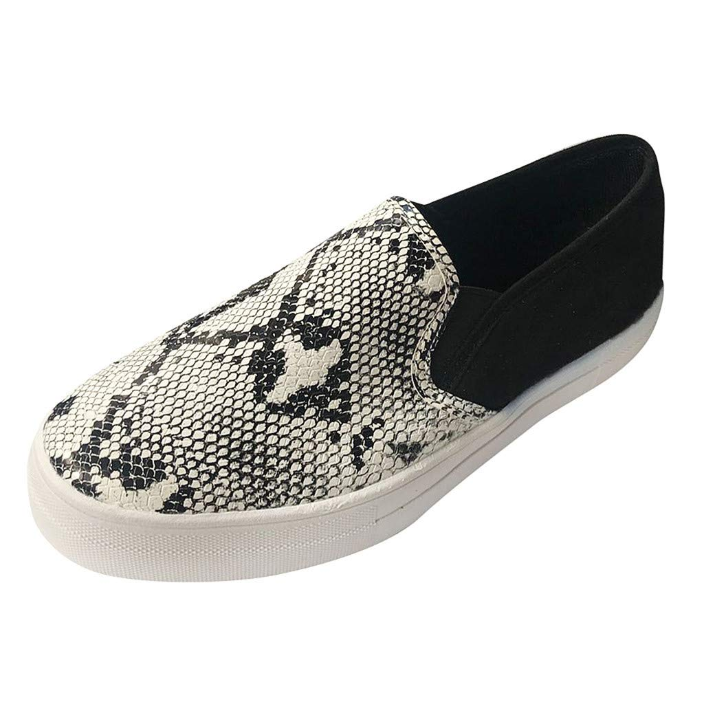 bravetoshop Women's Fashion Leopard Casual Loafers Roman Cloth Canvas Shoes(Gray,37) by bravetoshop