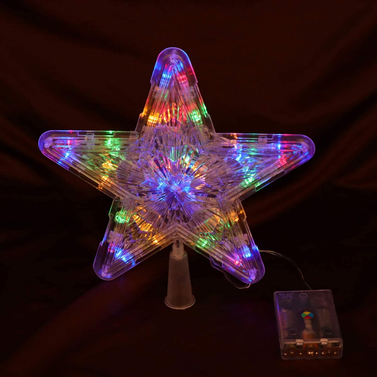 2Pcs Lighted Star Tree Topper Decor for Christmas Tree Banquet Party Outdoor Uonlytech Christmas Star Tree Topper Colorful,Size L